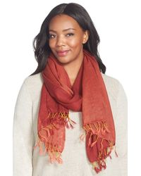 Eileen Fisher - Red Linen Blend Scarf - Lyst