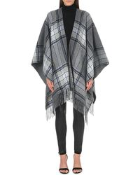 Theory | Gray Tasselled-hem Wool-blend Poncho | Lyst