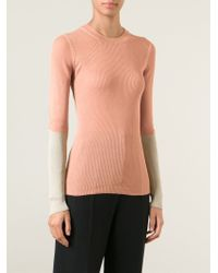 Maison Margiela | Pink Contrast Sleeve Sweater | Lyst