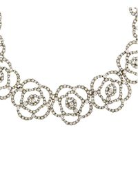 Oscar de la Renta - Metallic Swarovski Crystal Flower Necklace - Lyst