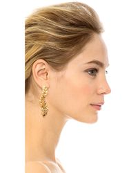 Kenneth Jay Lane | Metallic Crystal Leaf Clip On Earrings | Lyst