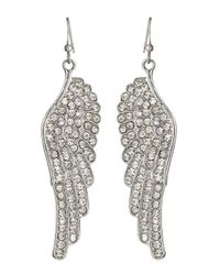 Kenneth Jay Lane - Metallic Pave Crystal Wing Earrings - Lyst