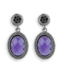 Platadepalo - Metallic Silver Earrings With Purple Crystal - Lyst