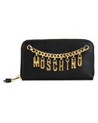 Moschino - Black Logo Chain Wallet - Lyst