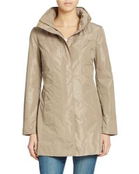 Ellen Tracy | Natural Packable Rain Jacket | Lyst