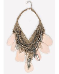 Bebe | Metallic Feather & Leaf Necklace | Lyst