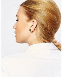 ASOS | Green Limited Edition Semi Precious Nugget & Pearl Double Earrings | Lyst