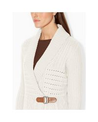 Ralph Lauren - Natural Cable-knit Shawl Cardigan - Lyst