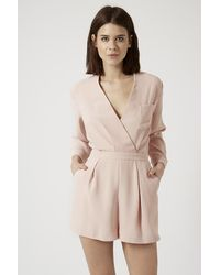 TOPSHOP - Pink Drape Front Playsuit - Lyst