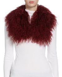 Saks Fifth Avenue | Red Tibetan Lamb Collar | Lyst