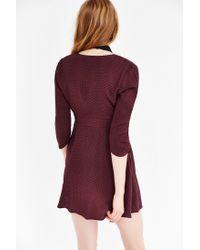 Silence + Noise - Purple Long-sleeve Brittany Surplice Dress - Lyst
