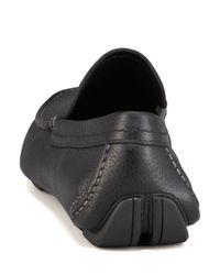 Ferragamo - Blue Pacifico Pebbled Leather Driver Black for Men - Lyst