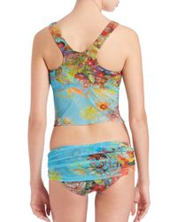 Fuzzi - Blue Two-piece Flower-print Tankini - Lyst