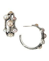 Stephen Dweck - White Nouveau Three-Row Pearl Hoop Earrings - Lyst