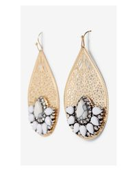 Express - Multicolor Filigree And Stone Teardrop Earrings - Lyst