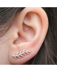 Anne Sisteron - Pink 14kt Rose And White Gold Diamond Leaf Ear Cuff - Lyst