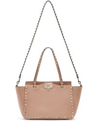 Valentino - Pink Leather Small Rockstud Tote - Lyst