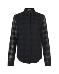 House of Holland - Black Embroidered Gingham Blouse for Men - Lyst