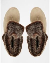 TOMS | Natural Zahara Faux Fur Suede Boots | Lyst