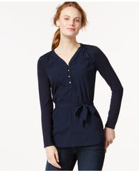 Tommy Hilfiger | Blue Long-sleeve Belted Knit Top | Lyst