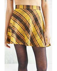 BDG | Yellow Plaid Bias Cut Circle Skirt | Lyst