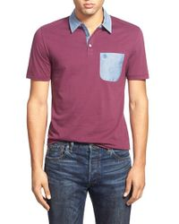 Original Penguin - Purple Chambray Trim Polo for Men - Lyst