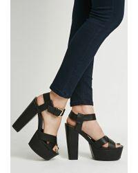 Forever 21 - Black Platform Ankle Strap Sandals - Lyst