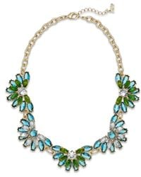 ABS By Allen Schwartz - Green Jewel Floral Necklace - Lyst