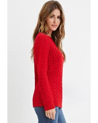 Forever 21 | Red Chunky Fisherman Sweater You've Been Added To The Waitlist | Lyst