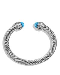 David Yurman - Cable Classics Bracelet With Blue Topaz & Diamonds - Lyst