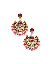 Jose & Maria Barrera | Pink Fan Scroll Chandelier Earrings | Lyst