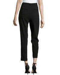 Michael Kors | Black Slim Pleated Cuffed Ankle Pants | Lyst