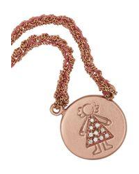 Carolina Bucci | Pink Baby Girl 18-Karat Rose Gold, Silk And Diamond Necklace | Lyst