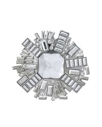 Oasis - Gray Flower Bead Brooch - Lyst