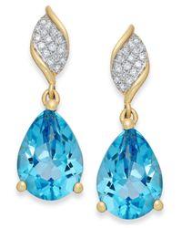 Macy's - Blue Topaz (4-1/2 Ct. T.w.) And Diamond Accent Drop Earrings In 10k Gold - Lyst