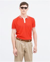 Zara | Red Piped Collar Polo Shirt for Men | Lyst