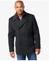 Kenneth Cole - Gray Wool-blend Peacoat for Men - Lyst
