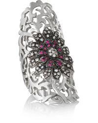 Ileana Makri - Shield Flower 18-karat White Gold, Diamond And Ruby Shield Ring - Lyst