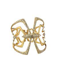 Alexis Bittar | Metallic Kinetic Crystal Encrusted Mirrored Hinged Bracelet - Gold | Lyst