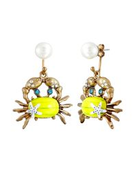 Betsey Johnson | Yellow Into The Blue Crab Pearl Drop Earrings | Lyst