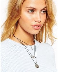 ASOS | Metallic Festival Multi Row Cord Choker Necklace | Lyst
