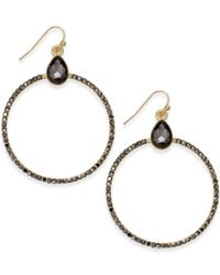 INC International Concepts | Metallic Gold-tone Pavé Hoop Drop Earrings | Lyst