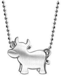 Alex Woo - Metallic Little Ox Zodiac Pendant Necklace In Sterling Silver - Lyst