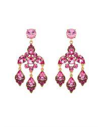 Oscar de la Renta - Purple Magenta Swarovski Crystal Chandelier Earrings - Lyst