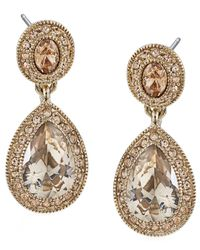 Carolee | Metallic Gold-tone Pave Glass Teardrop Earrings | Lyst