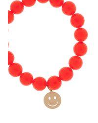 Sydney Evan | Orange Agate Happy Face Bracelet | Lyst