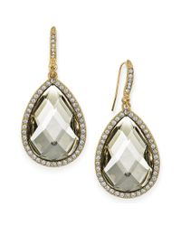 INC International Concepts - Metallic Gold-tone Black/grey Cabochon Pave Edge Teardrop Earrings - Lyst