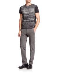Z Zegna - Black Striped Figure Cotton Tee for Men - Lyst