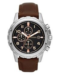 Fossil - Brown Notched Bezel Leather Strap Chronograph Watch for Men - Lyst