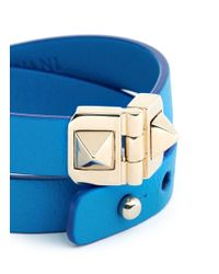 Valentino | Blue Rockstud Double Wrap Hinge Leather Bracelet | Lyst